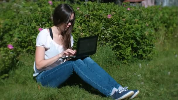 Gyönyörű barna lány dolgozik, gépelés-on laptop ül a parkban, nyáron.