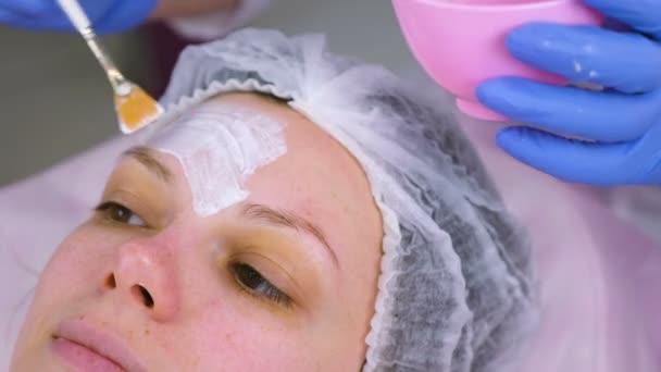 Kozmetikus hozza mask womans arcán az ecset. Hidratáló arc. Arc közeli képe.
