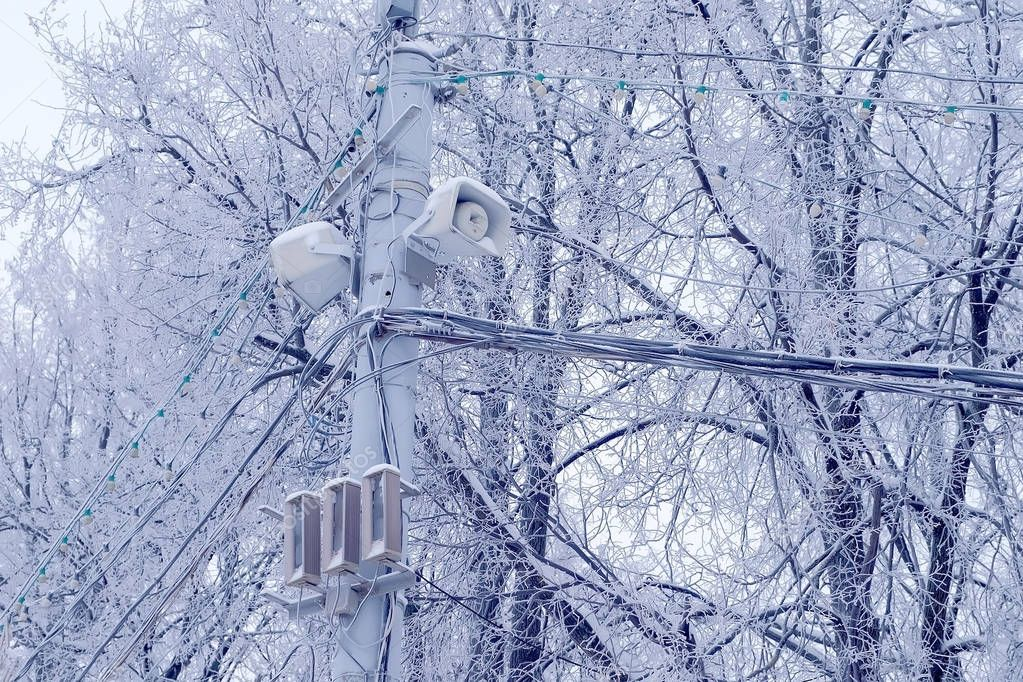 Streetlight lamp and power line on the background of snowy trees in winter.