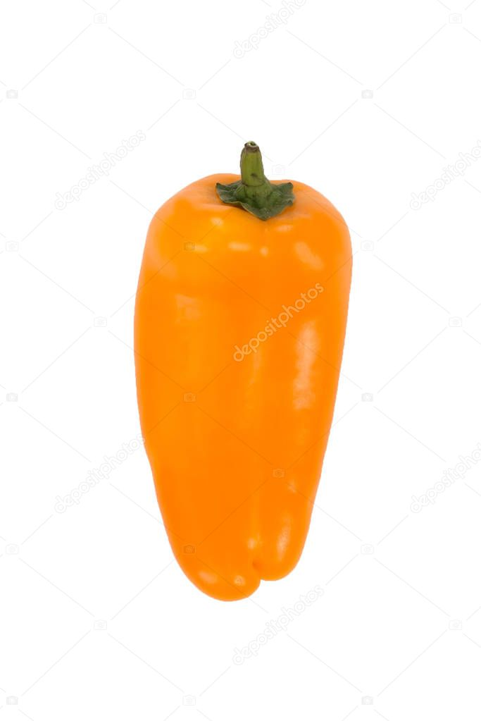 Ovely mini yellow peppers on white isolate background. Fresh vegetable