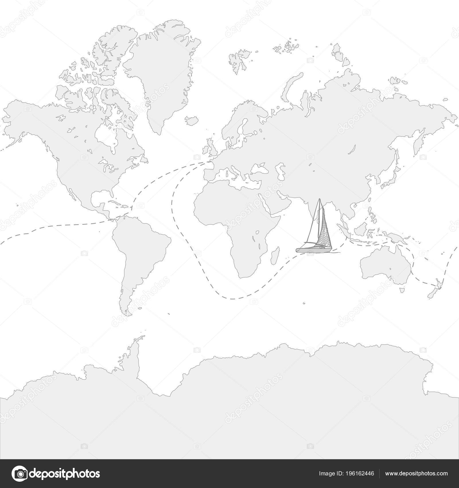 globe map travel route boat hand drawn vector icon stock vector