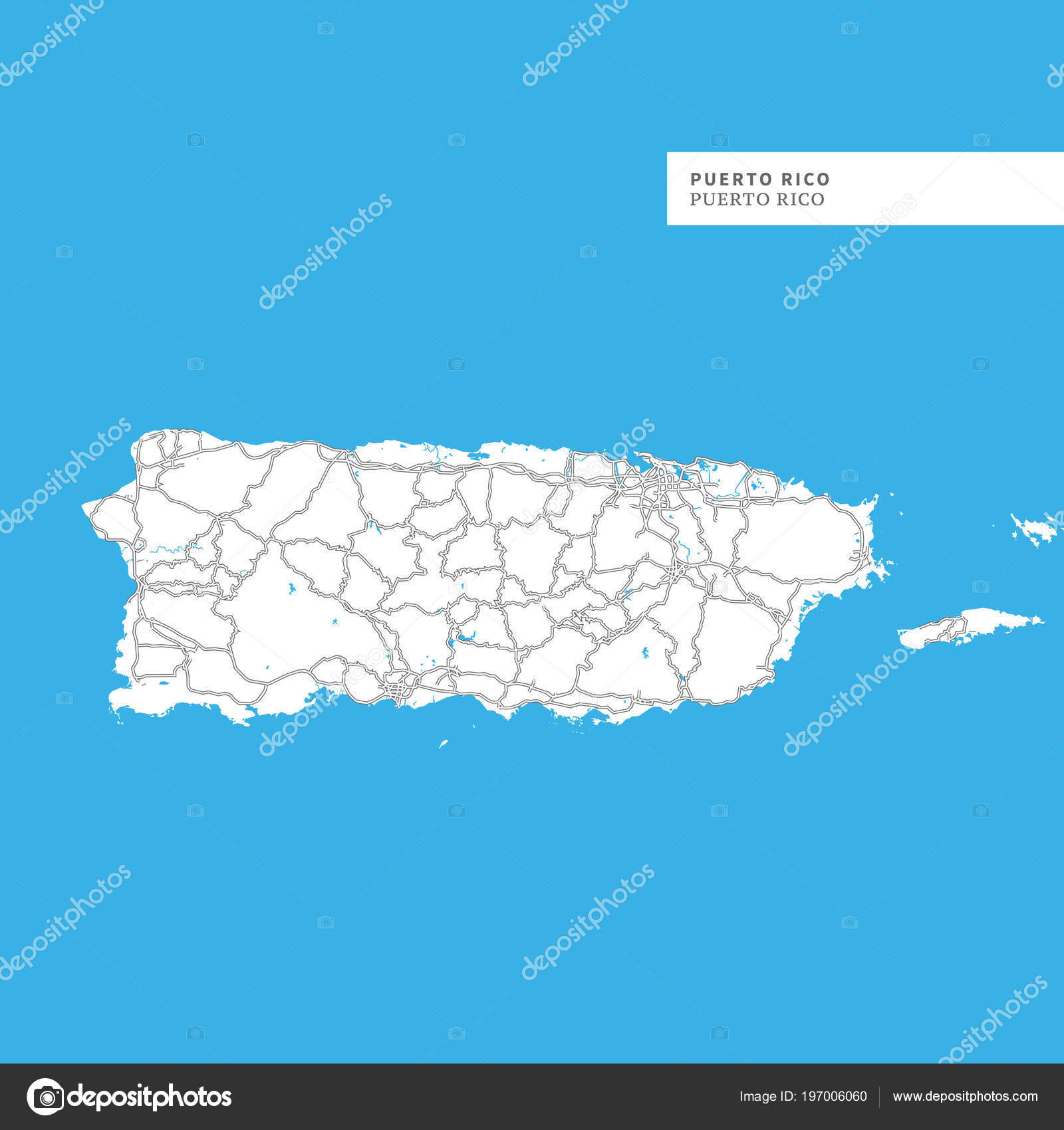 Map Puerto Rico Island Puerto Rico Contains Geography Outlines Land ...