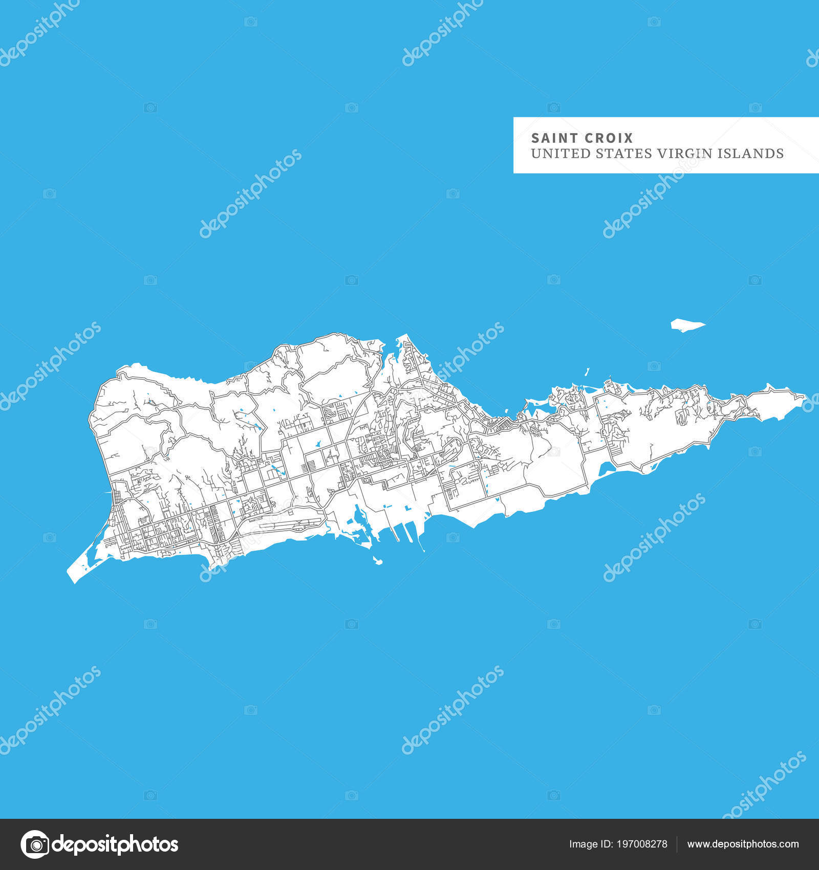 Map Saint Croix Island United States Virgin Islands Contains ...
