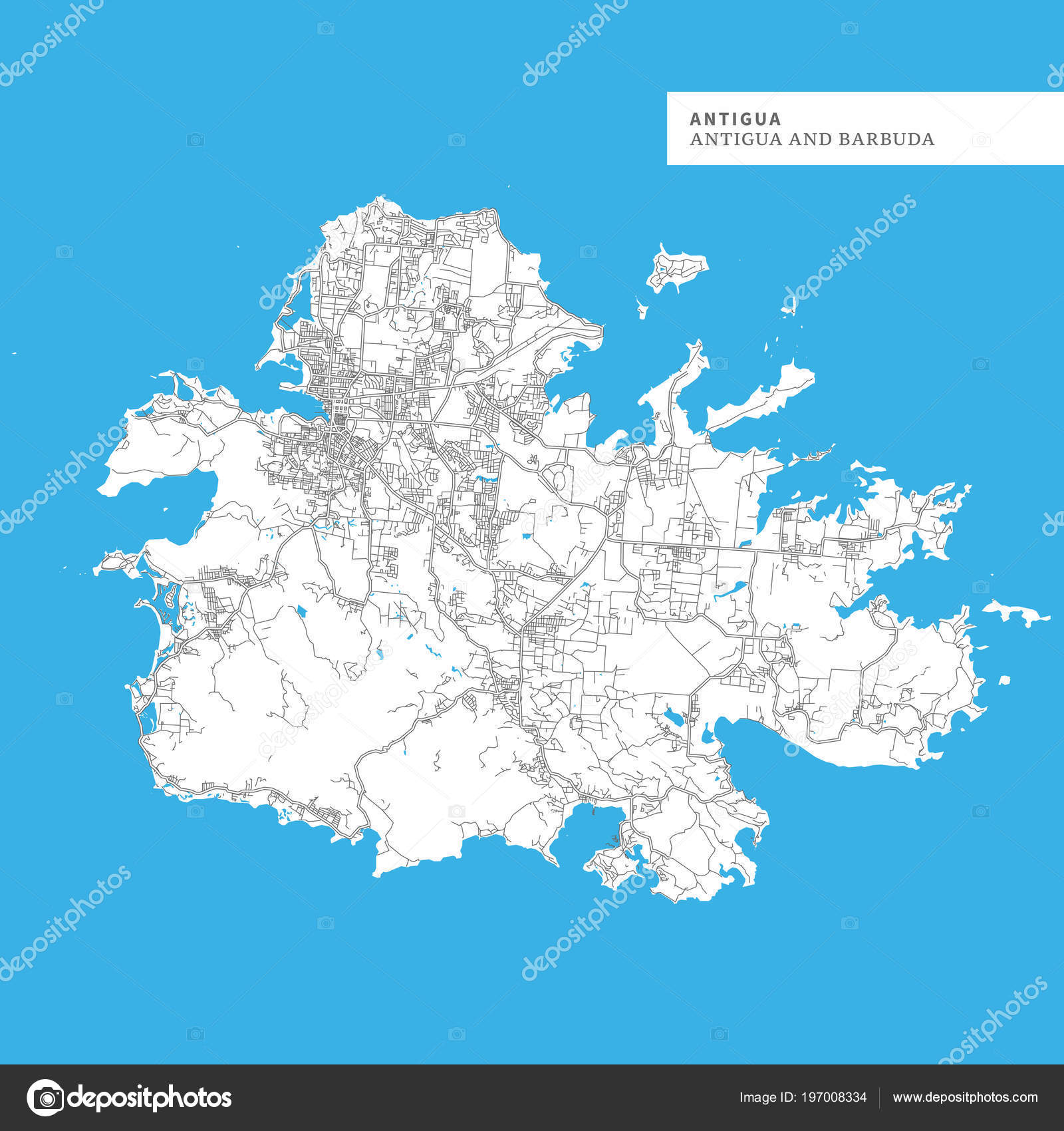 Map Antigua Island Antigua Barbuda Contains Geography Outlines Land ...