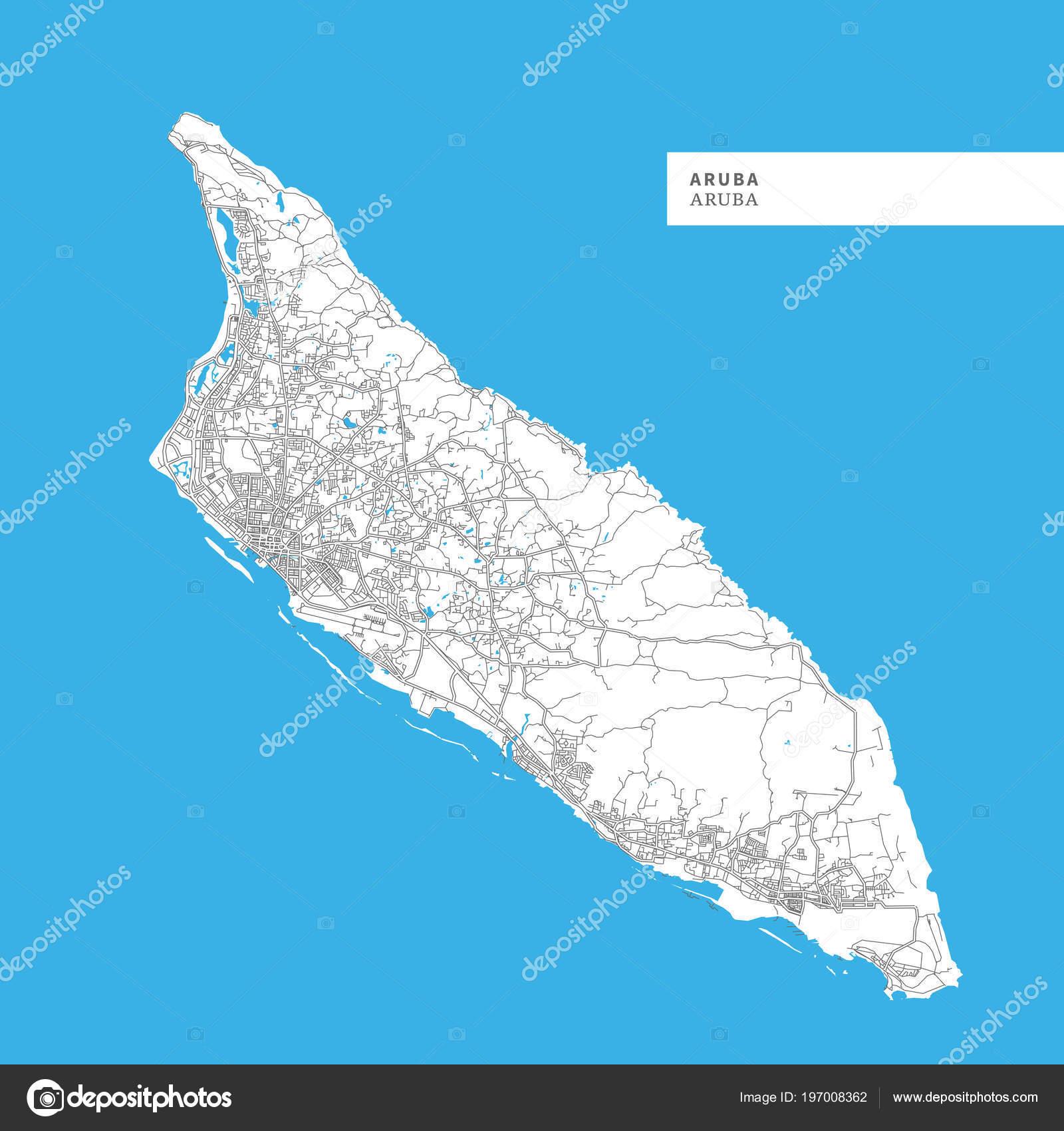 Karte Der Insel Aruba Aruba Enthält Geographie Umrisse Für ...