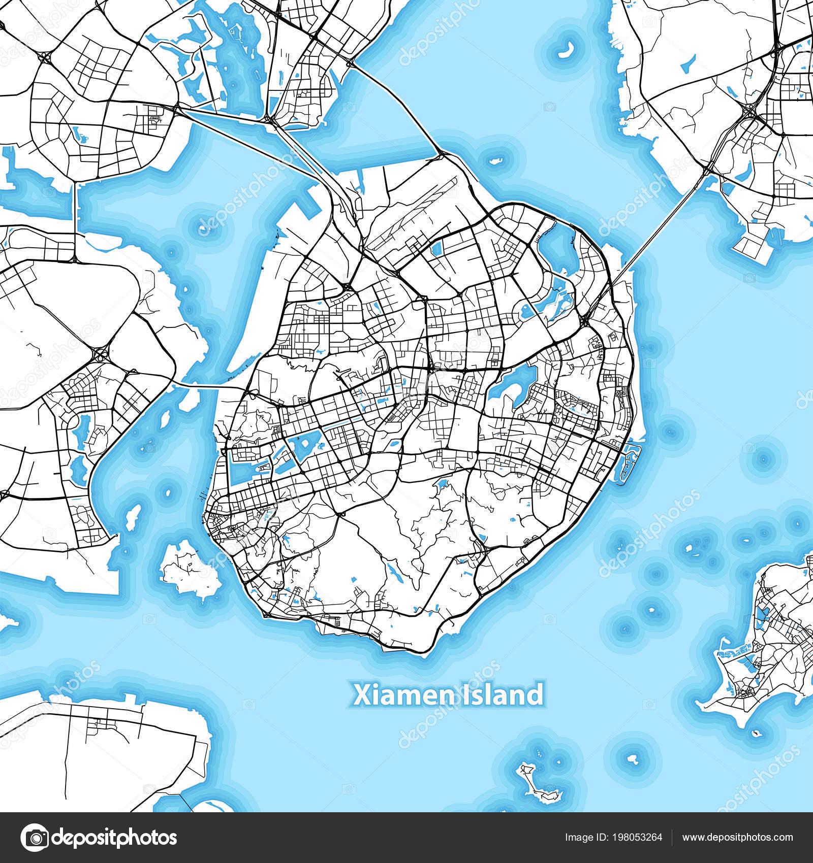 Carte Chine Xiamen.Carte Ile Xiamen Chine Avec Les Grandes Autoroutes Routes
