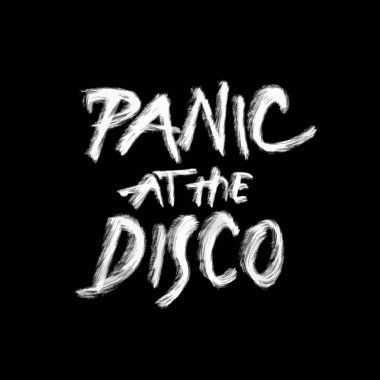 panic at the disco, chalk lettering on black, hand drawn vector design element