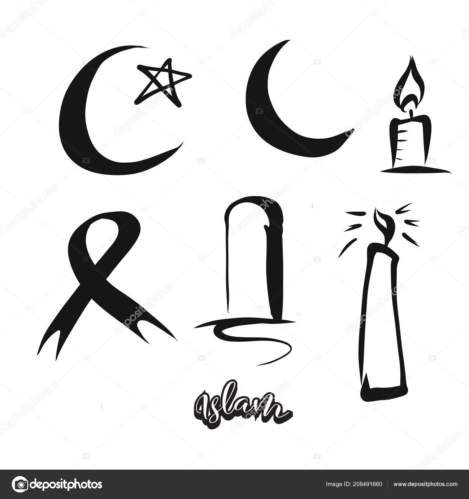 Set Of Hand Drawn Islam Symbols Mail