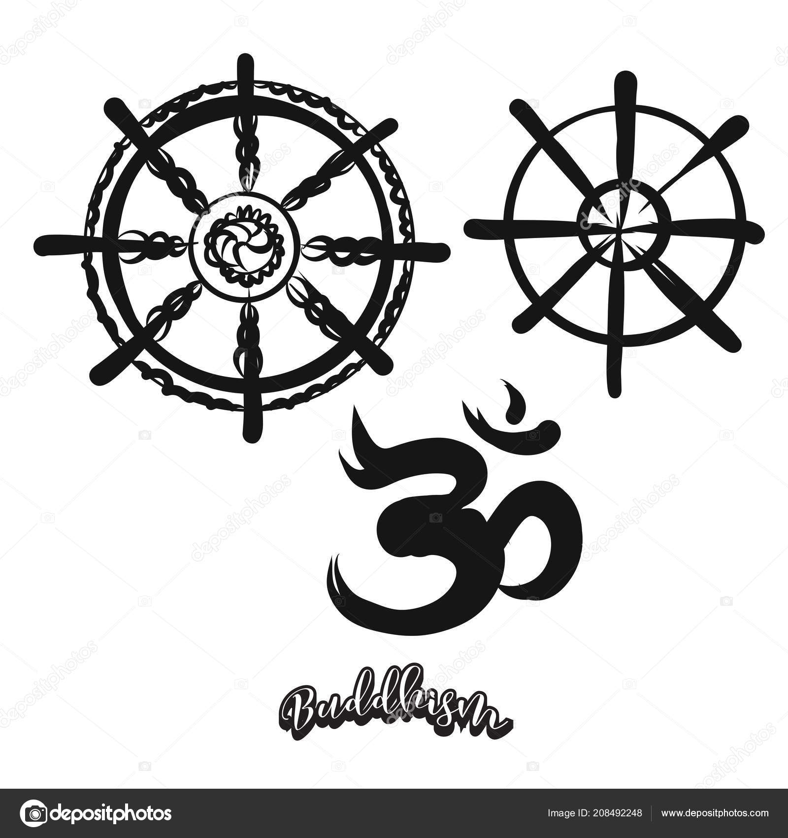 Set Of Hand Drawn Buddhism Symbols Stock Vector Mailhebstreit