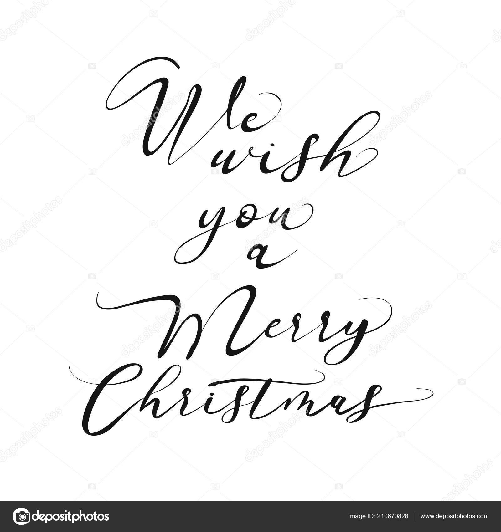 Wish You Merry Christmas Lettering Nice Seasonal Calligraphic ...