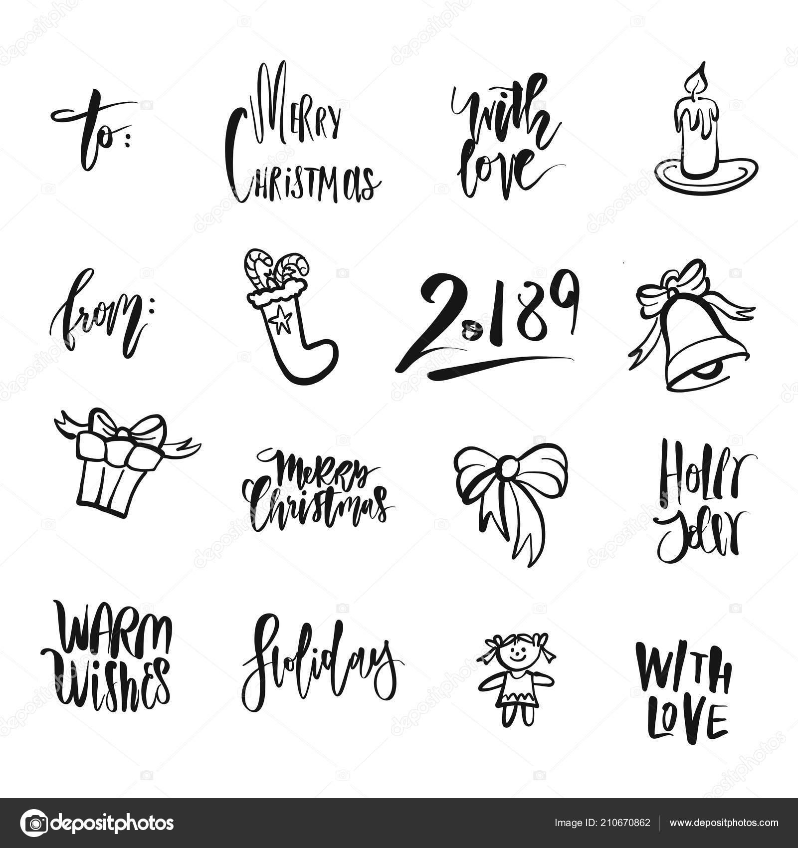Christmas Icons Words Nice Seasonal Calligraphic Artwork Greeting