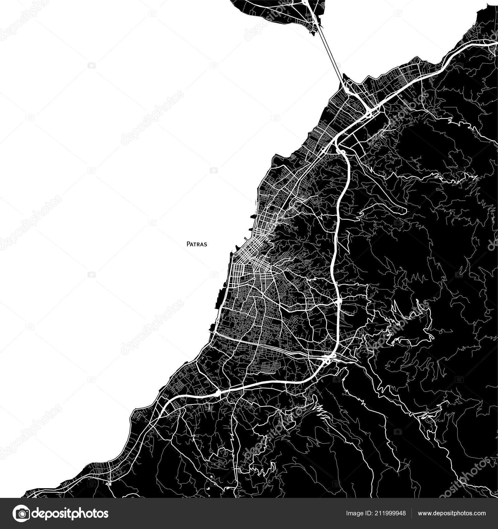 Area Map Patras Greece Dark Background Version Infographic ...