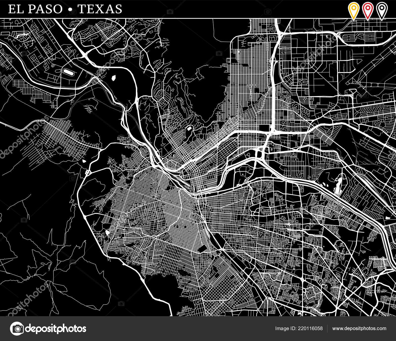 Simple Map Paso Texas Usa Black White Version Clean Backgrounds