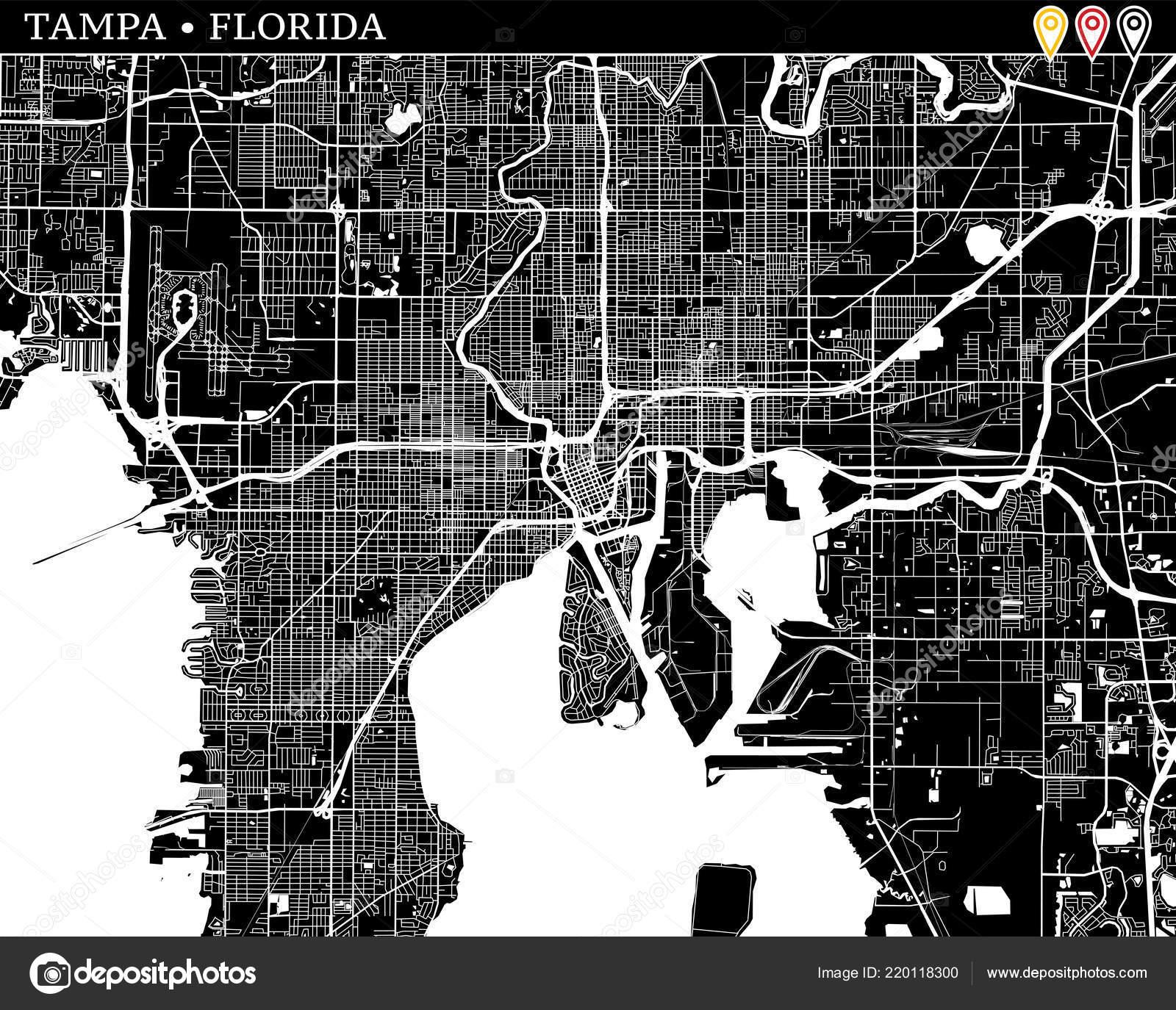 Tampa Florida Usa Map.Simple Map Tampa Florida Usa Black White Version Clean Backgrounds