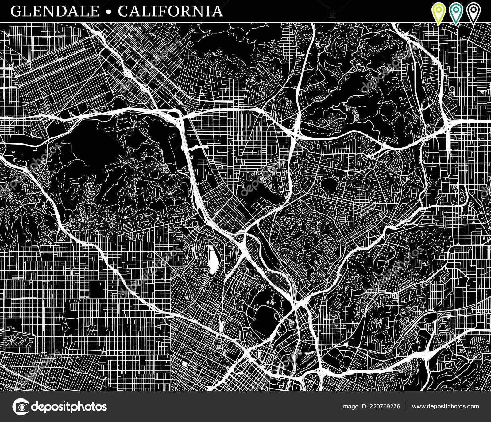 Simple Map Glendale California Usa Black White Version Backgrounds ...