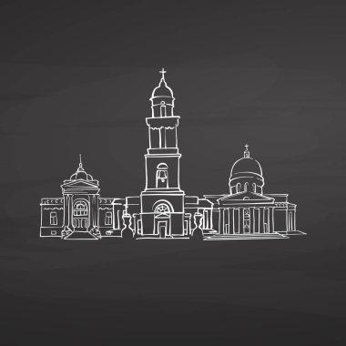 Chisinau Moldova signs on blackboard. Digital chalk drawn vector sketch on blackboard. European capitals destinations.