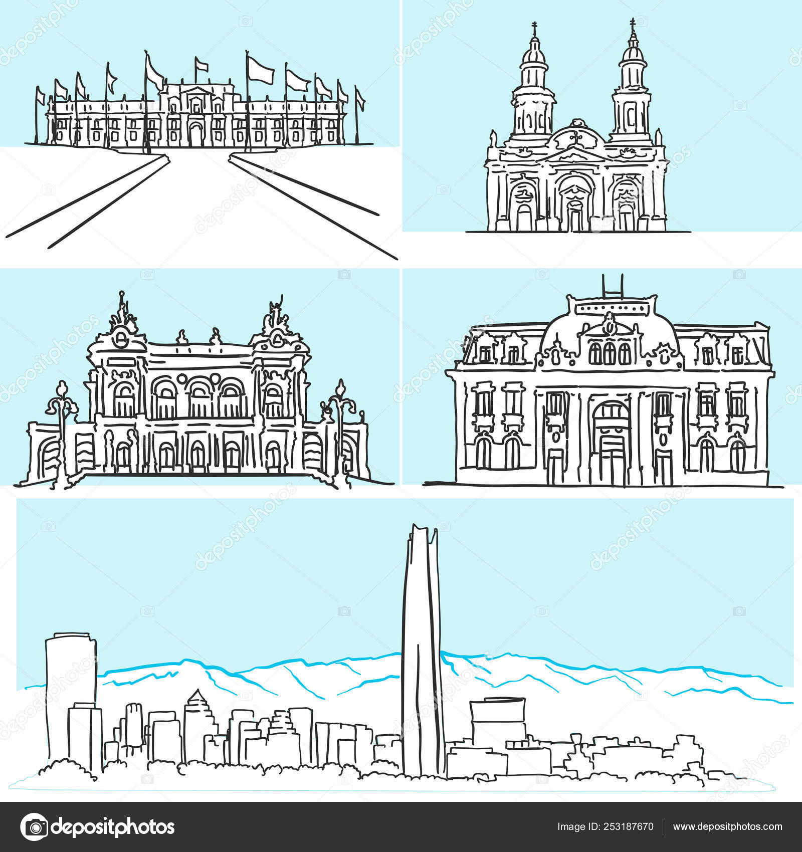 Santiago Chile famous architecture drawings by hand — Stock
