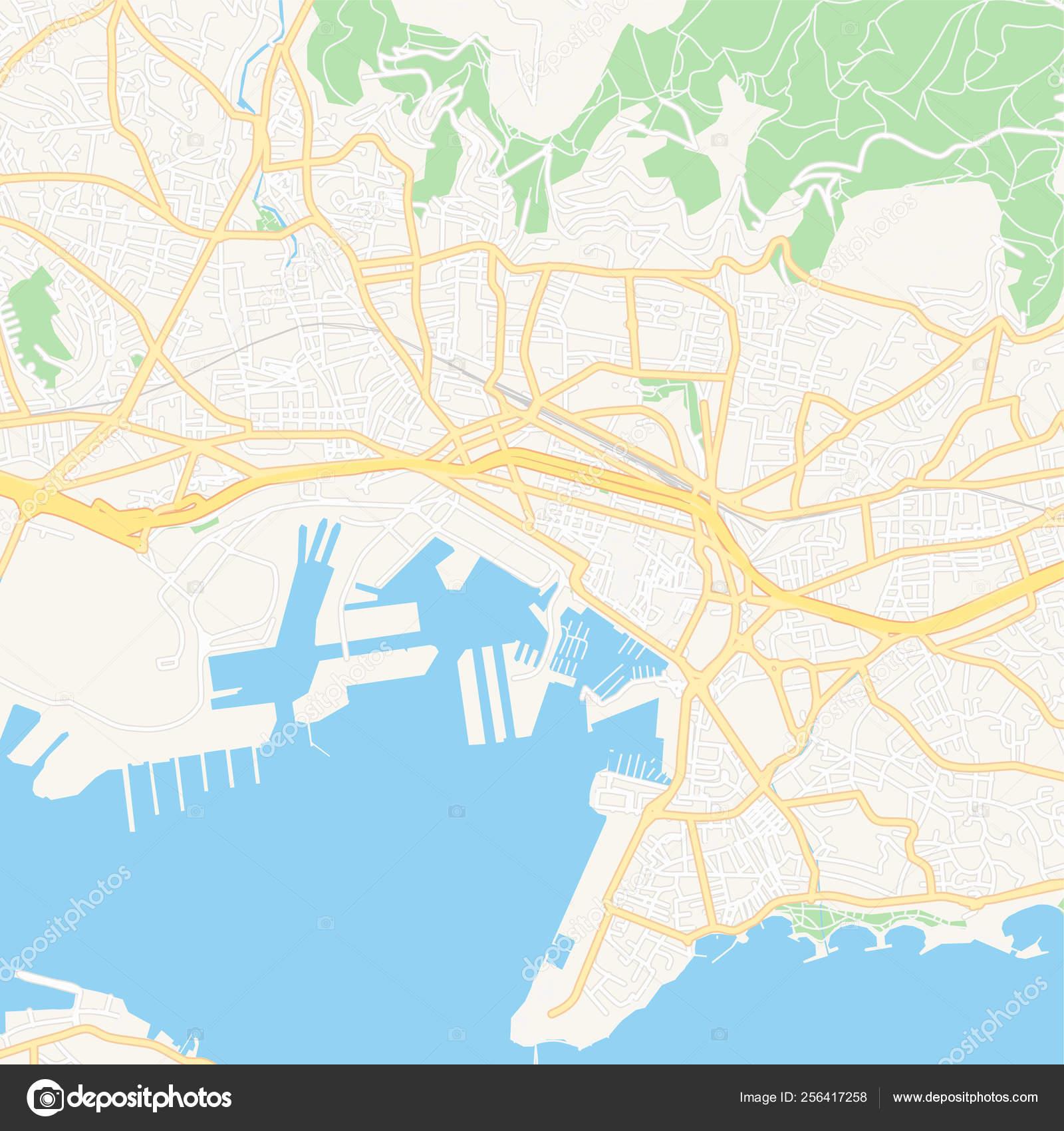 Toulon Francia Mapa Imprimible Vector De Stock C Mail Hebstreit