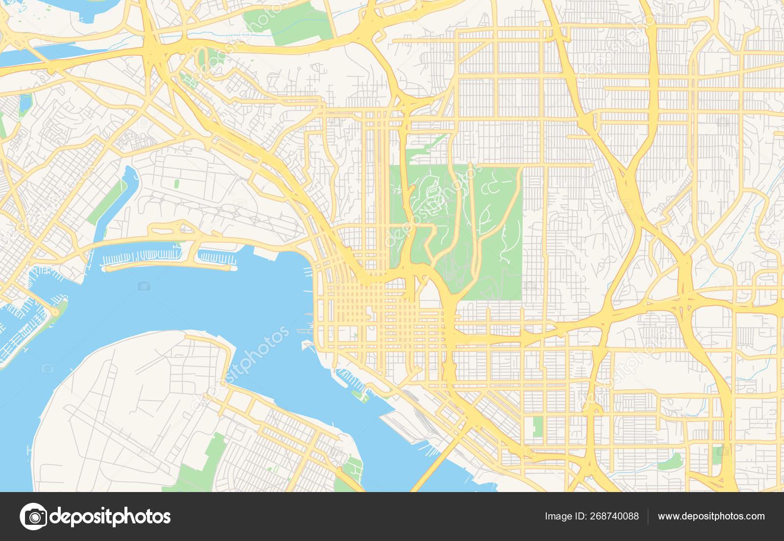 Empty vector map of San Diego, California, USA — Stock ...