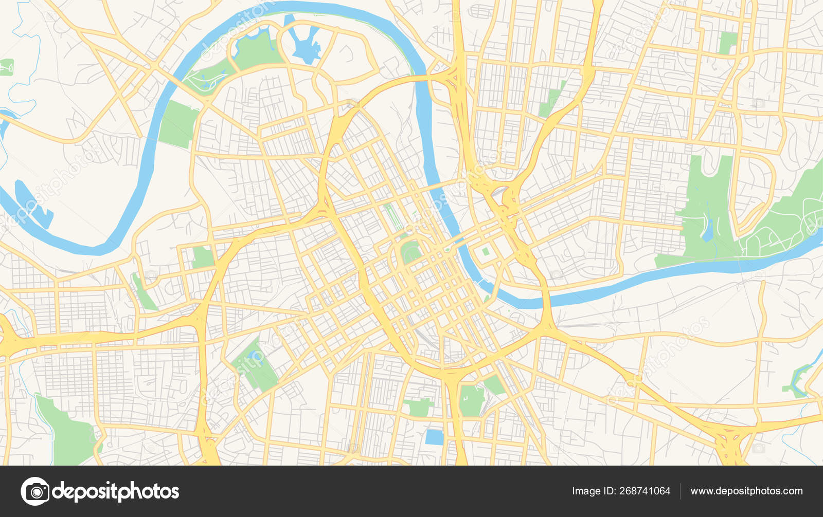 Empty vector map of Nashville, Tennessee, USA — Stock Vector ...