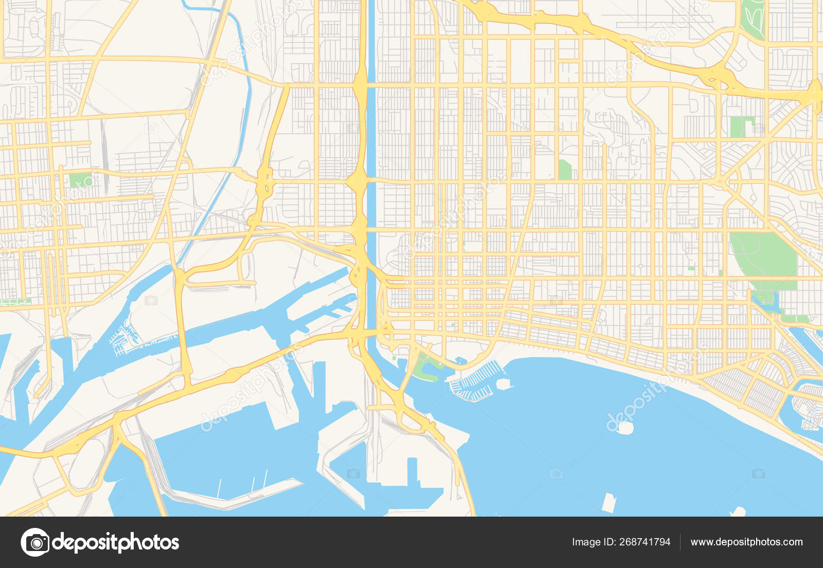 Map Of California Usa.Empty Vector Map Of Long Beach California Usa Stock Vector