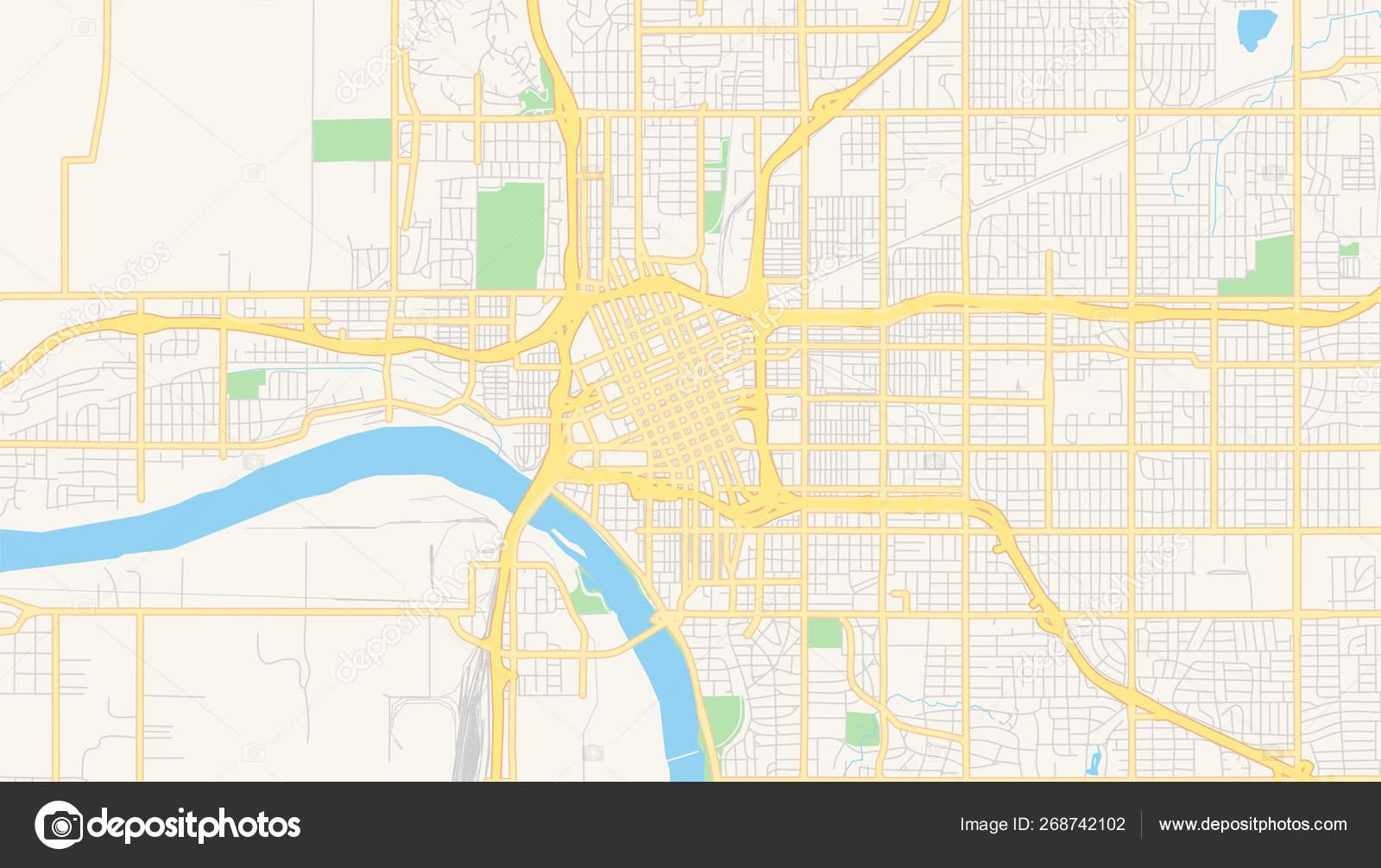 Empty vector map of Tulsa, Oklahoma, USA — Stock Vector ...