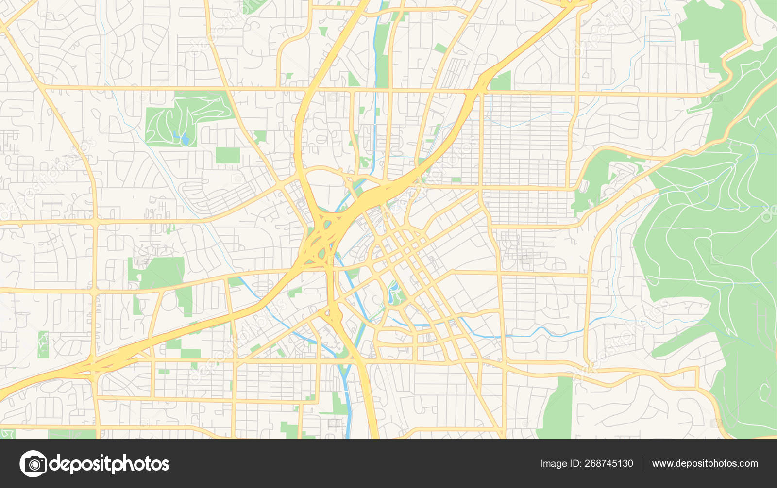 Empty vector map of Huntsville, Alabama, USA — Stock Vector ...