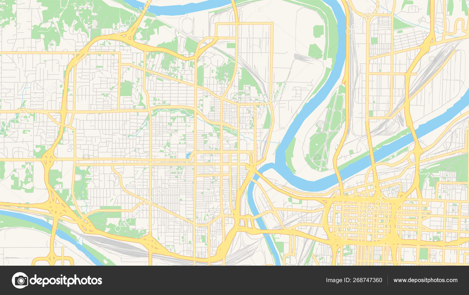 Empty vector map of Kansas City, Kansas, USA — Stock Vector ...