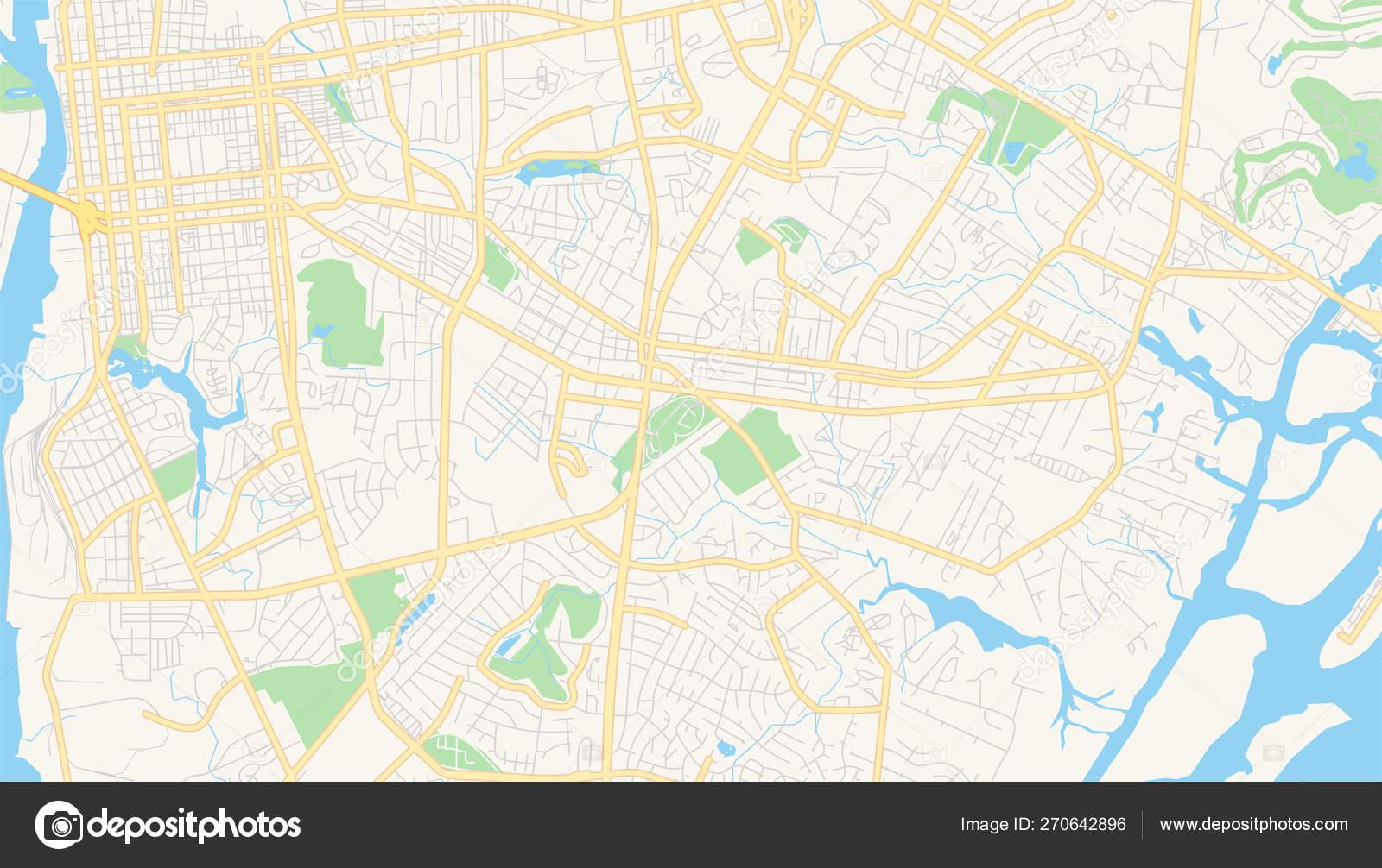 Empty vector map of Wilmington, North Carolina, USA — Stock Vector ...