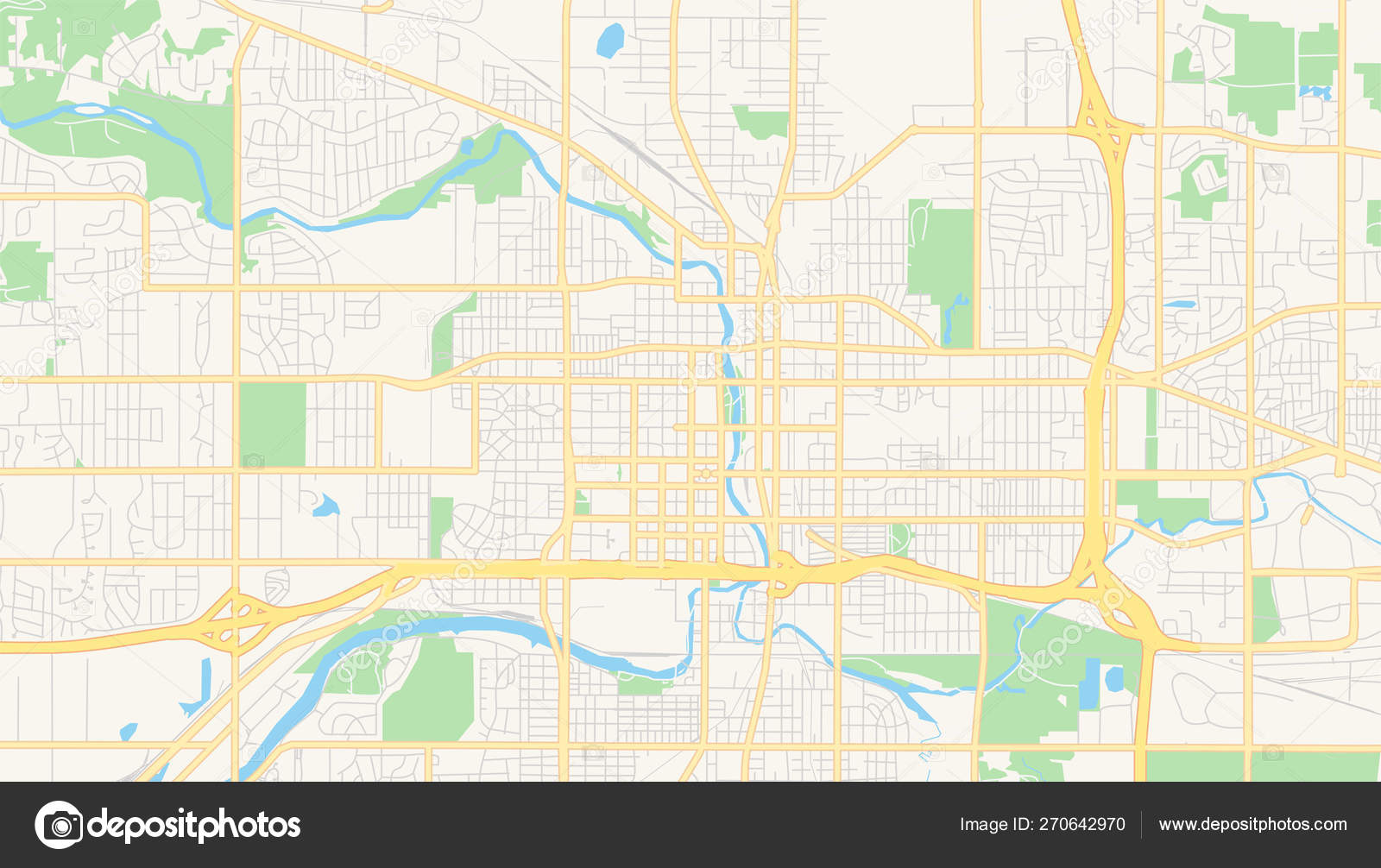 Empty vector map of Lansing, Michigan, USA — Stock Vector ...