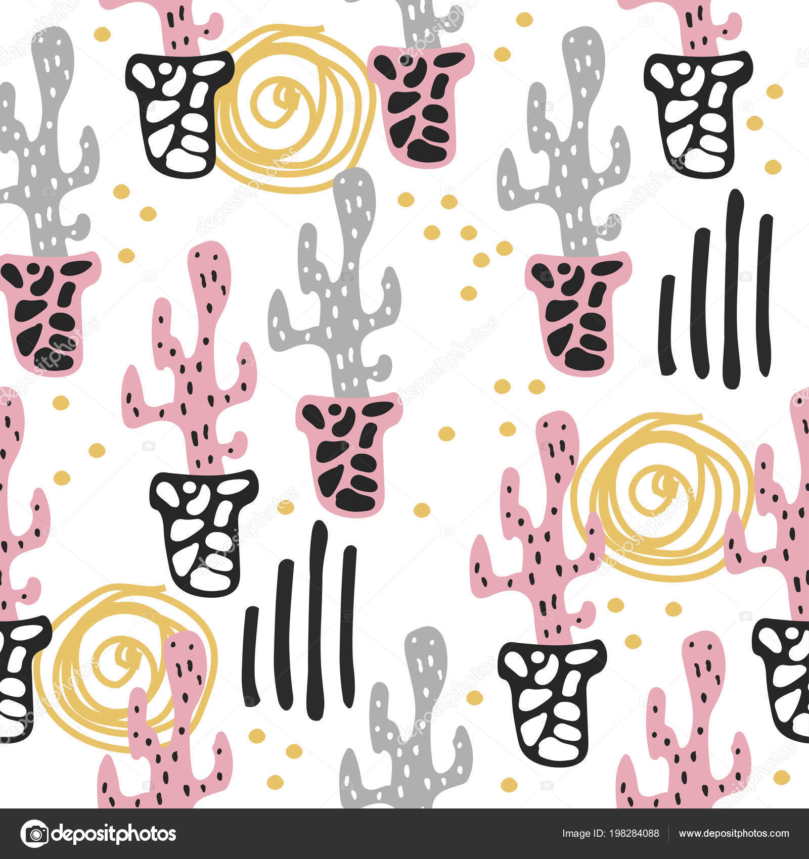 Patrón sin fisuras con cactus de flor Linda en diseño escandinavo ...