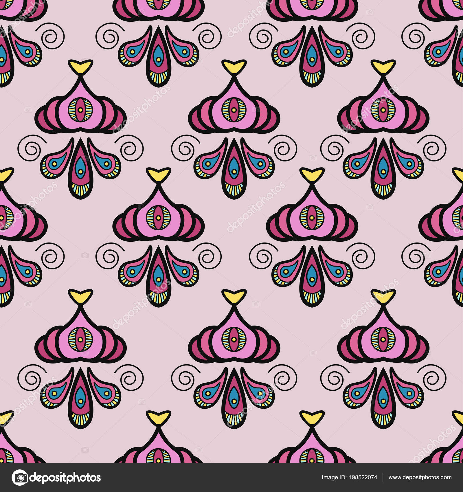 Seamless Asian Pattern With Ethnic Symbol Style For Traditional Textile,