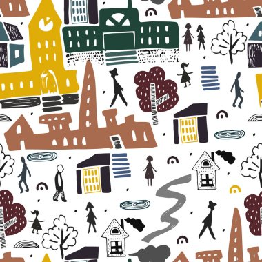 Scandinavian style pattern with city and people in it. Buildings and architecture . Traveling. City landscape.