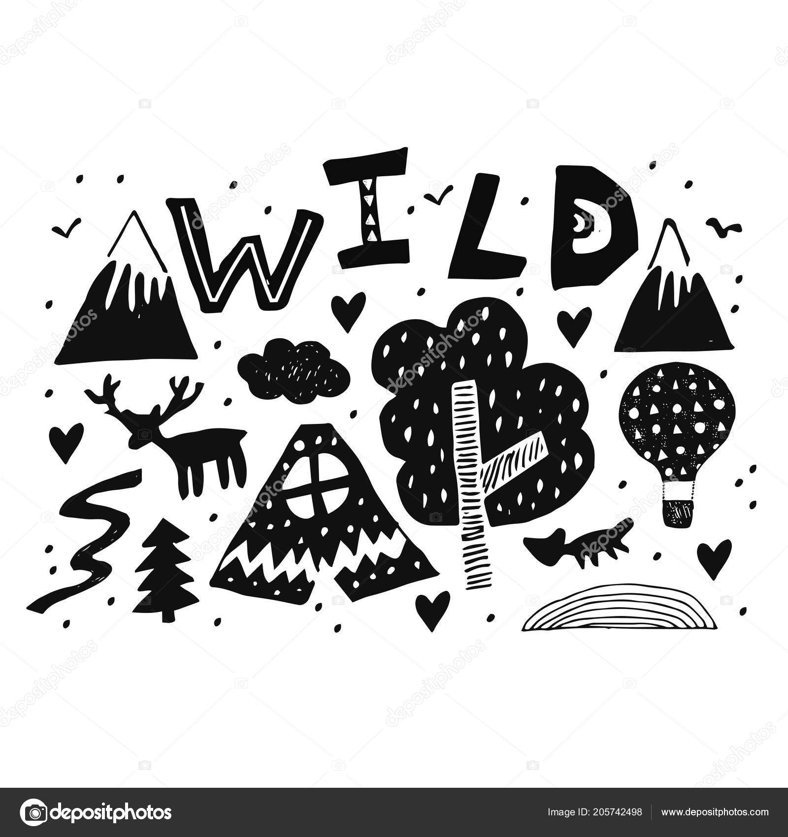 lettering word wild with scandinavian style kid drawings for