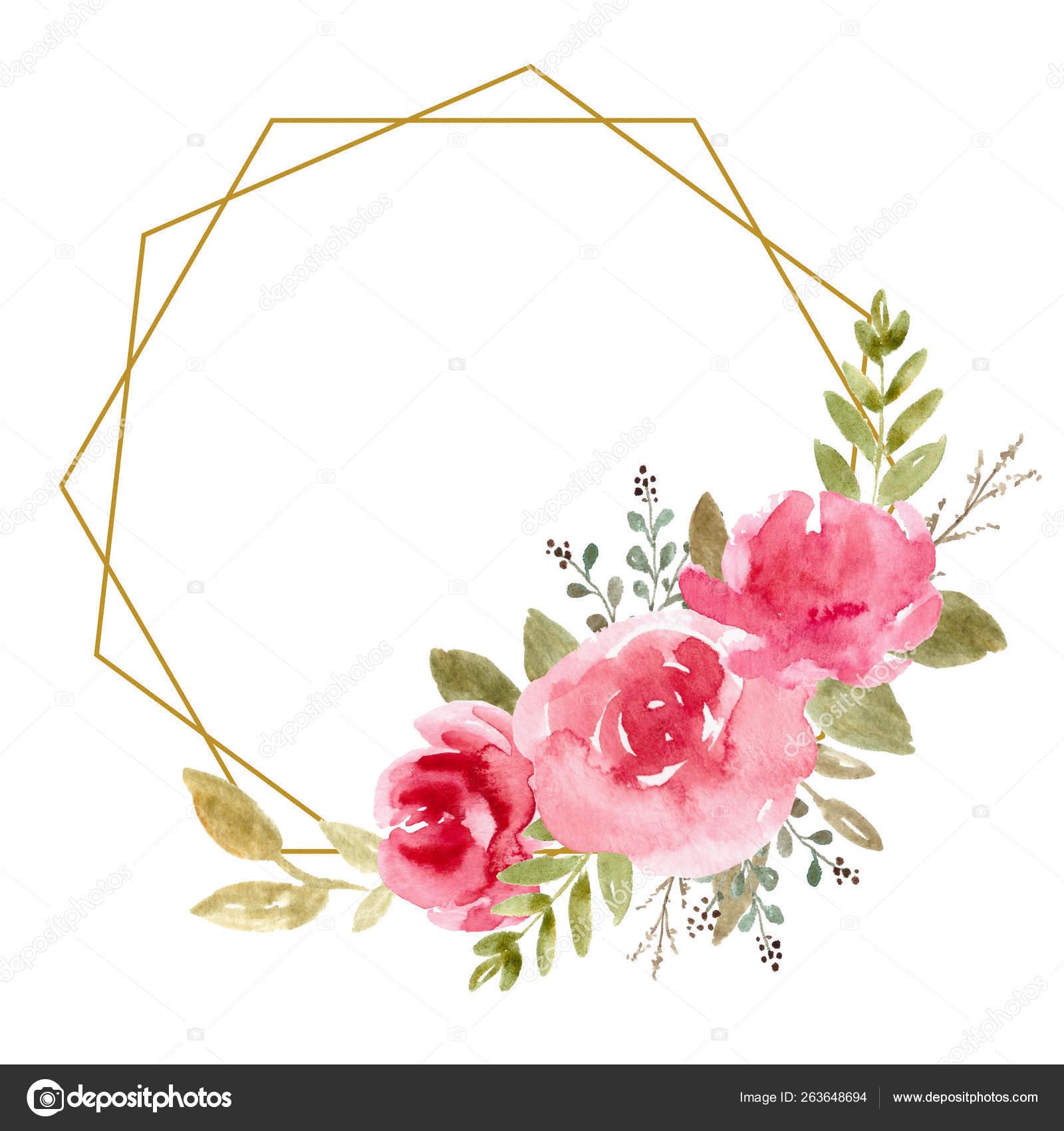 Floral Frame, Watercolor Wedding Decor. Flower Wreath