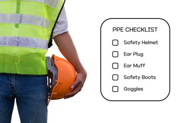 Hazard Identification and Risk Assessment concept (Safety work place) - Engineering man or Safety Inspector standing with PPE checklist on tablet. stock vector