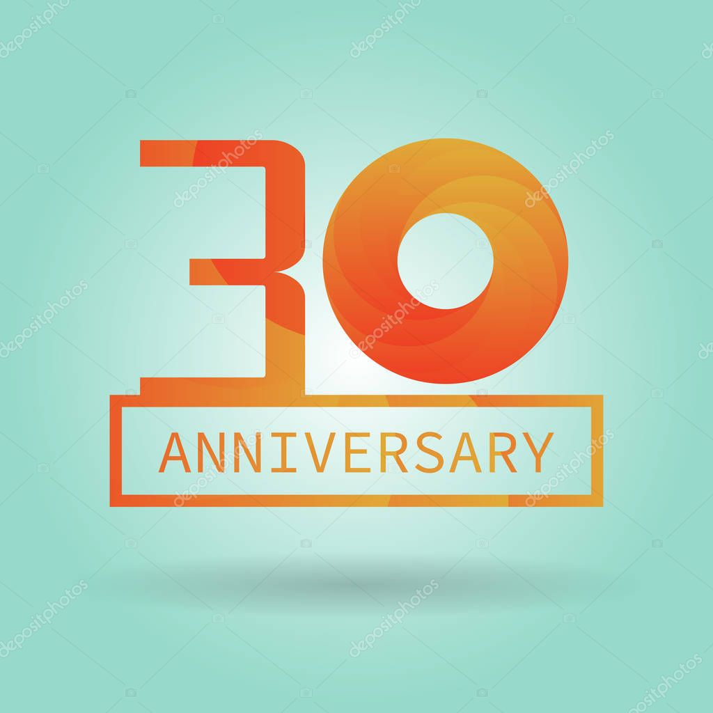 Logo or icon anniversary with orange modern pattern. Flat logo concept. 30 years anniversary.