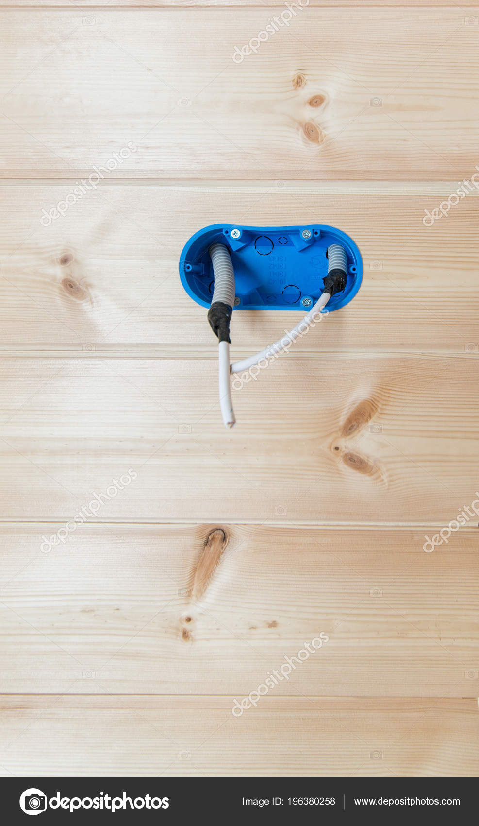 Blue Hood Wall Outlet Switch Protruding Insulated Wire Electric Wiring An From A In The For Or With Wooden House Photo By Endewer1mailru