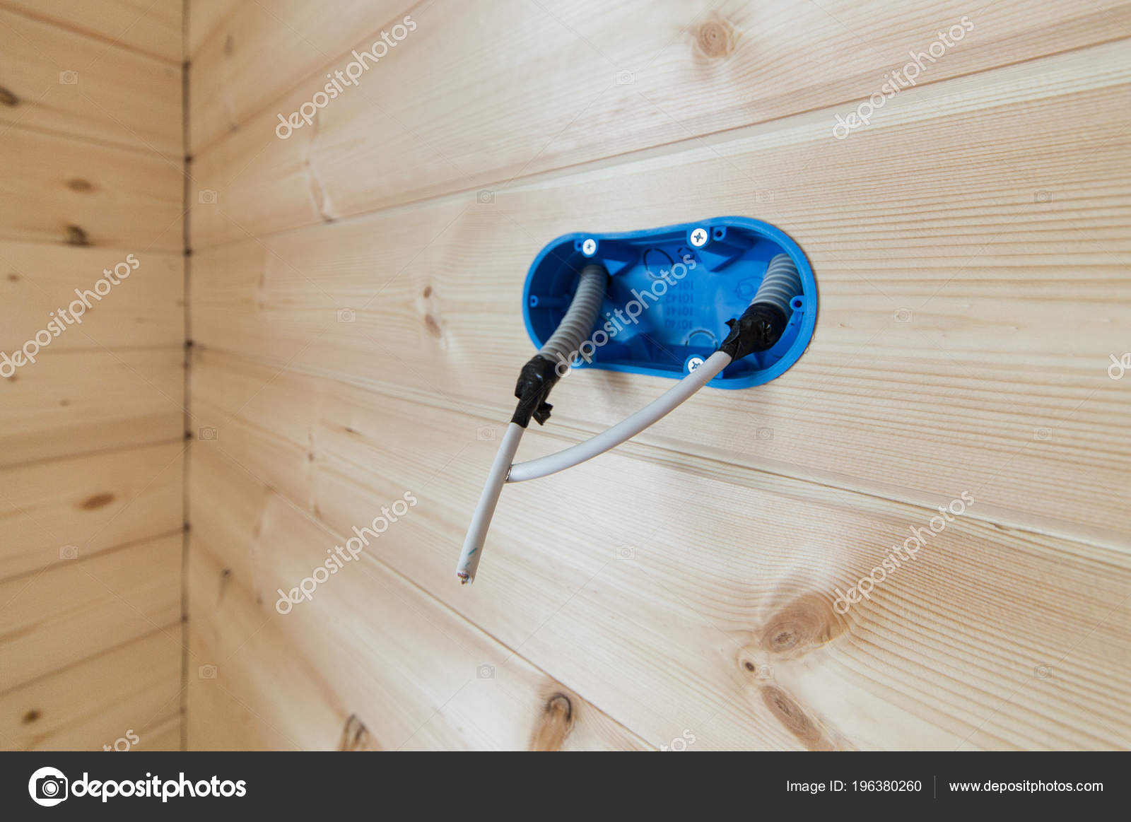Blue Hood Wall Outlet Switch Protruding Insulated Wire Electric Basic House Wiring Outlets A In The For An Or With Wooden Photo By Endewer1mailru