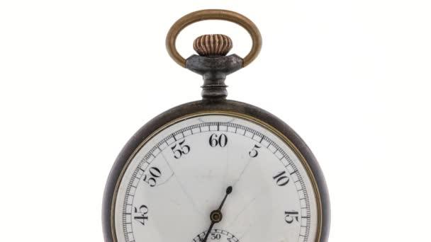 TimeLapse. Vintage pocket watch fehér alapon.