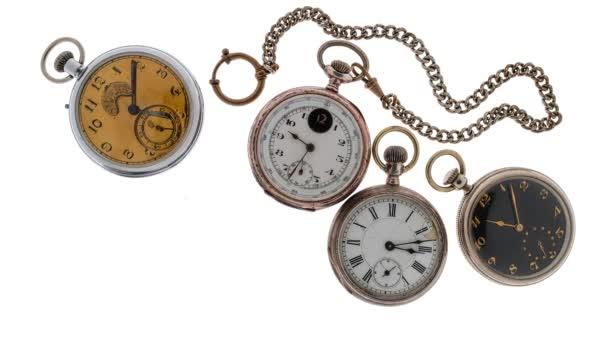 TimeLapse. Sor vintage pocket watch fehér alapon.