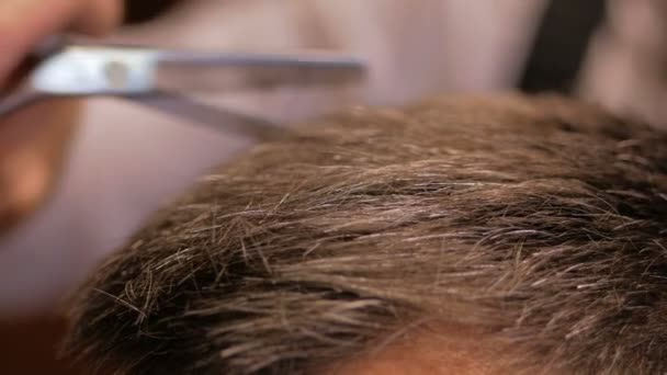 Hairdresser cuts hair to man in barbershop close-up. Slow motion