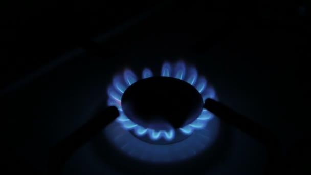 Zánět zemního plynu v hořáku, detailní zobrazení, plynná z kuchyň plynový sporák. Plameny plynový sporák. Kamna, nejlepší hořák zapálení do modré vaření plamen. Full Hd