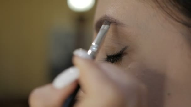 Makeup. Work with female eyebrows in a beauty salon
