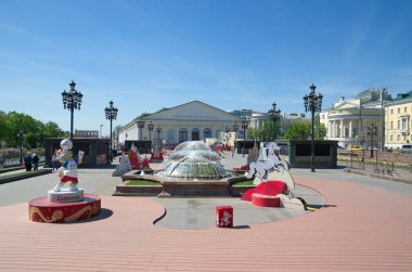 Moscow, Russia - may 12, 2018: Installations in the Manezhnaya Square, dedicated to the cities where the matches will be held of the 2018 FIFA World Cup