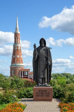 Kolomna, Moscow region, Russia - August 17, 2018: Epiphany Old Golutvin male monastery. Monument to St. Sergius of Radonezh