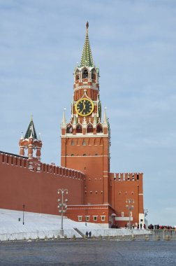 Winter view of the Spasskaya tower of the Moscow Kremlin. Moscow, Russia
