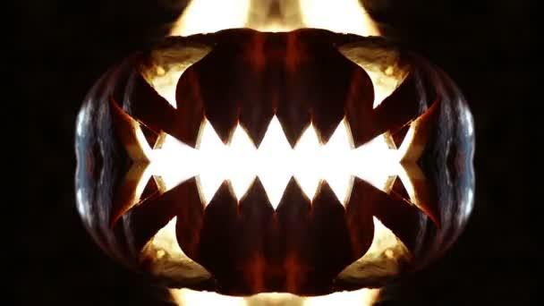 Hořící dýně na Halloween. Smyčkou