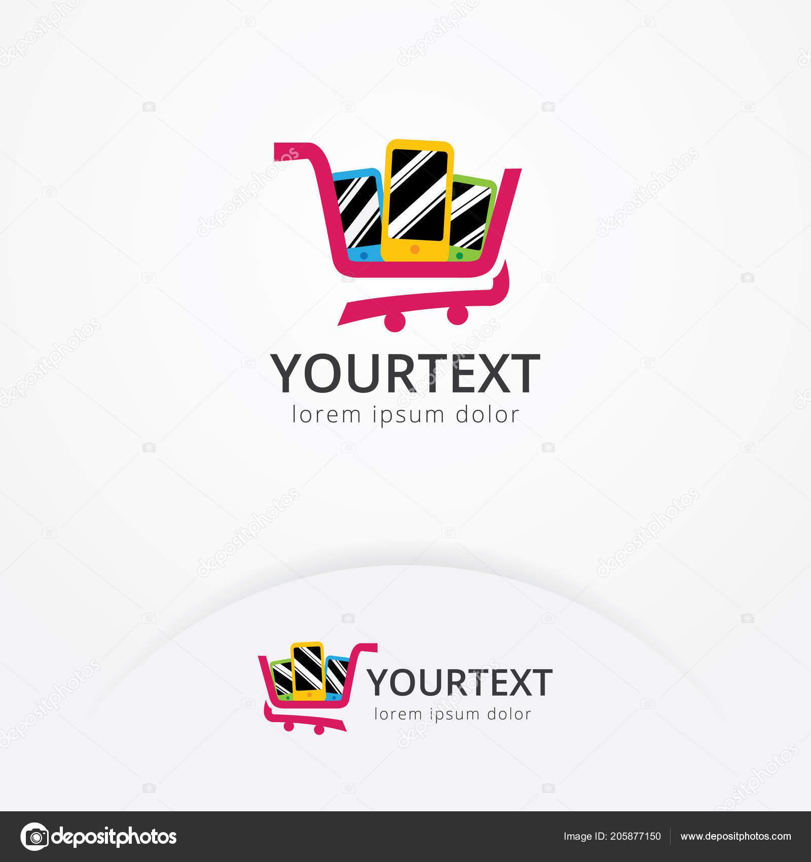 55227b7024b Phone Shop Logo Design Vector Illustration Mobile Phone Shopping ...