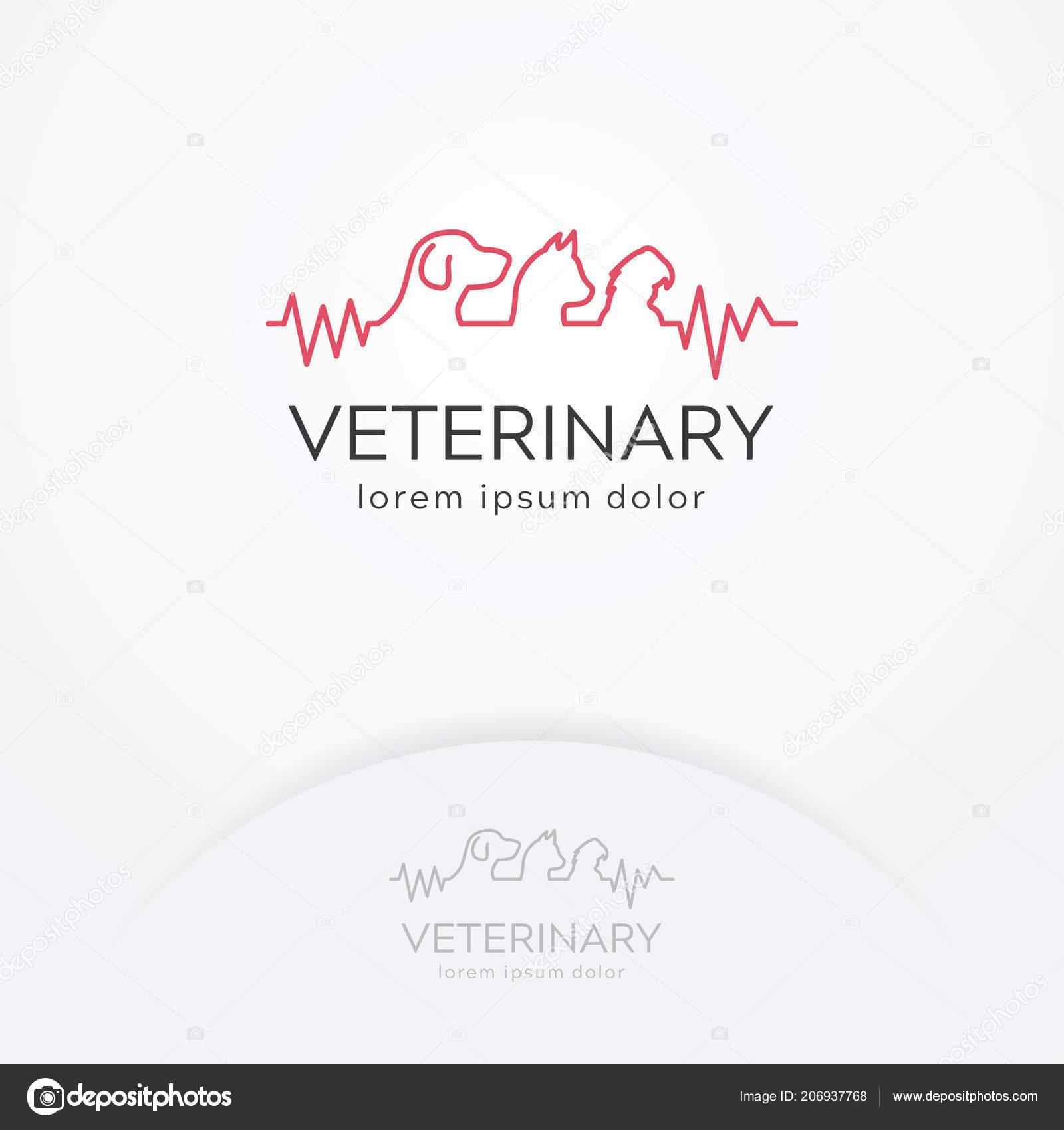 Veterinary Center Logo Pet Clinic Logo Dog Cat Bird Line